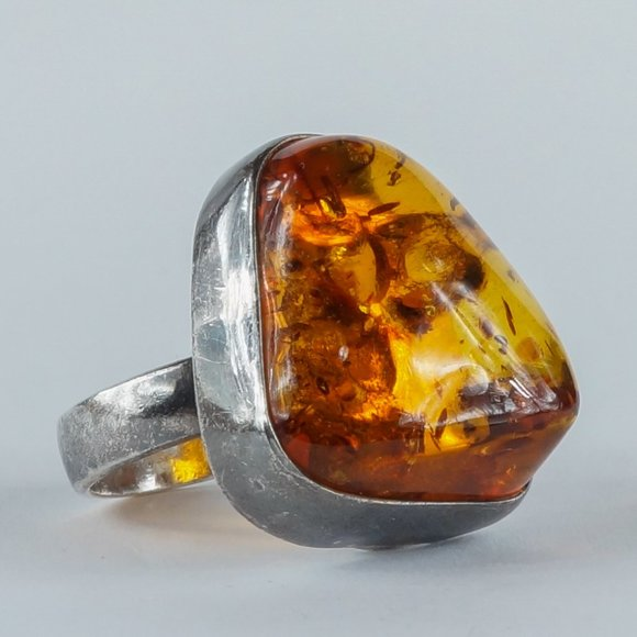 Vintage Jewelry - VINTAGE Amber 925 Sterling Silver Ring Polish